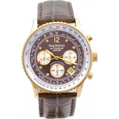 krug-baumen-400213ds-air-traveller-brown-dial-brown-strap