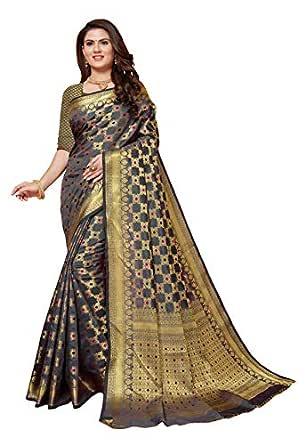 Darshita International Women's Kanjivaram and Banarasi Silk Saree for Woman