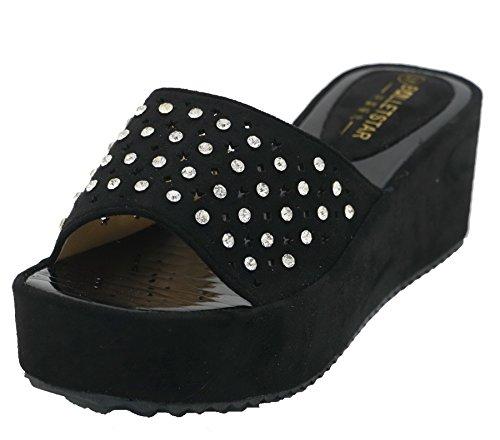 AgeeMi Shoes Damen Rund Zehe Nubuk Flip Flop Keilabsatz Plattform Sandalen,EuL11 Schwarz 38 (Faux-wildleder-flip-flop-sandale)