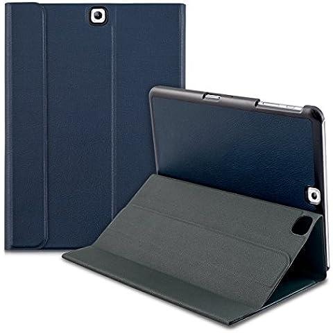 kwmobile Funda Slim Smart para Samsung Galaxy Tab S2 9.7 con cierre magnético y soporte - funda de polipiel estilo libro en azul oscuro