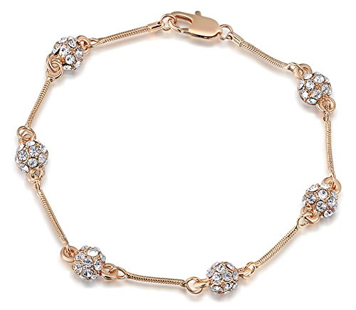 SaySure - 14k Gold plated charm bracelet Rose golden