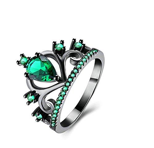Bishilin Vergoldet Ring für Frauen Krone Tropfen Zirkonia Grün Verlobungsringe Hochzeitsring Schwarz Weihnachtsgeschenke Größe 52 (16.6)