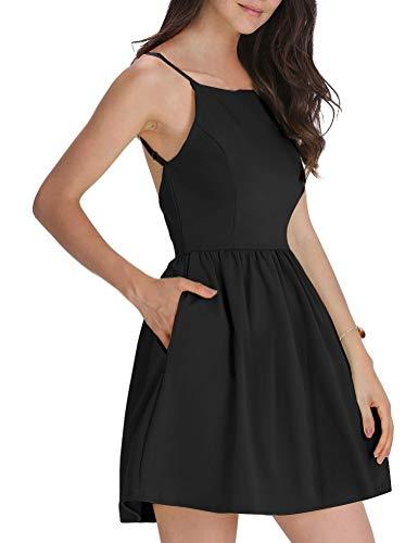 FANCYINN Damen Sommerkleid Armellos Spaghetti-Armband Kleider Elegant Rückenfreies Kurze Kleid Minikleid Schwarz-S - Kurzen Schwarzen Kleid