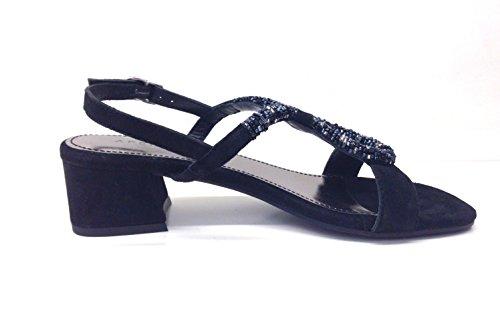 APEPAZZA GINA GNN06, scarpe donna, sandali col tacco, perline Nero