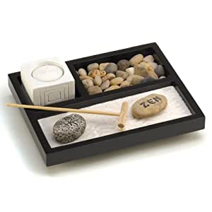 Gifts & Decor de table Zen sable Roches Bougie support Râteau de jardin Kit