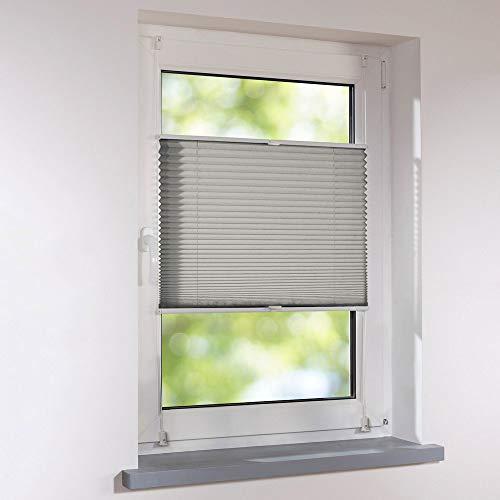 Plissee 40 x 130 cm grau verspannt Klemmfix ohne Bohren Faltrollo Raffrollo Sonnen- & Sichtschutz