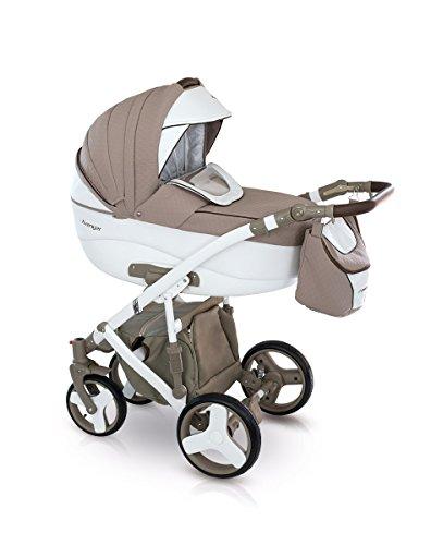 Lux4Kids Kinderwagen Set Babywanne Sportsitz Babyschale Wickeltasche Matratze Buggy optionales Zubehör 3in1 VIP Luxus Made in EU Kinderwagen Avenger+ Autositz Weiss-Cappucino