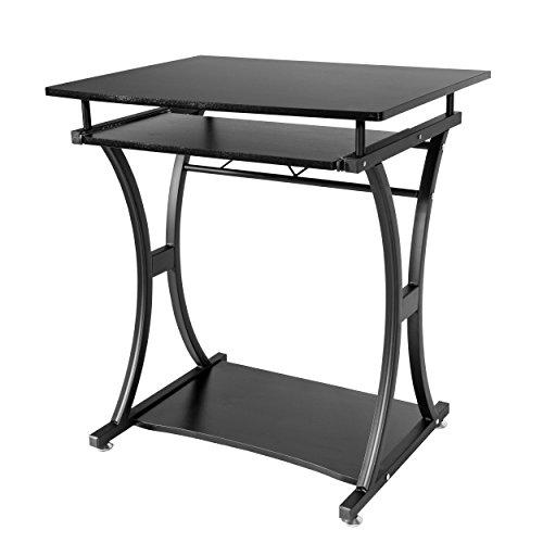 Stilvolle Home-office-möbel (Lyndan-Traverse schwarz Computer Tisch Schreibtisch für Home und Office Möbel Workstation für PC Desktop und Laptop mit ausziehbare Tastaturablage)