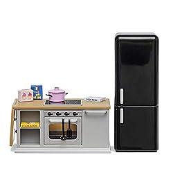 Lundby 60201800 - Küche Möbel - Puppenhaus-Zubehör - Möbelset 10-teilig - Küchenzeile - Herd - Ofen - Kühlschrank - LED-Beleuchtung - Kücheninsel - ab 4 Jahre - Minipuppen 1:18
