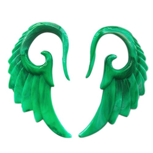 Pair of 2 Gauge Green Angel Wings Expander Spiral Plugs Body Piercing Jewelry