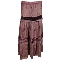 Mogul Interior Womans Maxi Skirt Velvet Vintage Lace Tiered Bohemian Long Skirts