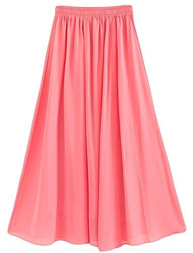 CoutureBridal® Femme Jupe longue Jupe d'été Elastic Ceinture Chiffon 12 Couleurs Rose