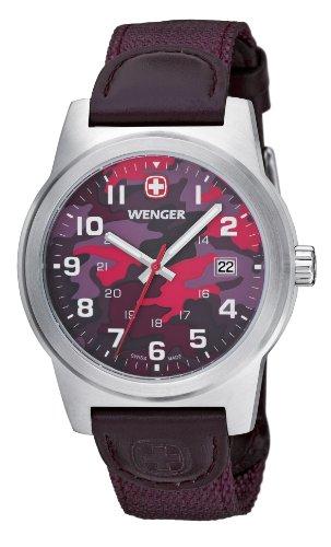 wenger Herren-Armbanduhr camo Analog nylon violett 010441110 (Camo Violett)