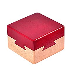 Zernnis Wooden Magic Puzzle Brain Teaser Lock Box For Intelligence Games