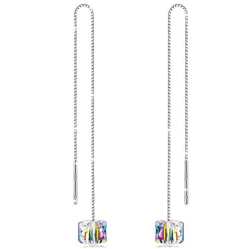 Alex perry orecchini donna 925 sterline argento con cristalli di swarovski aurore boreale cubo regali gioielli per san valentino madre moglie figlia ragazza lei