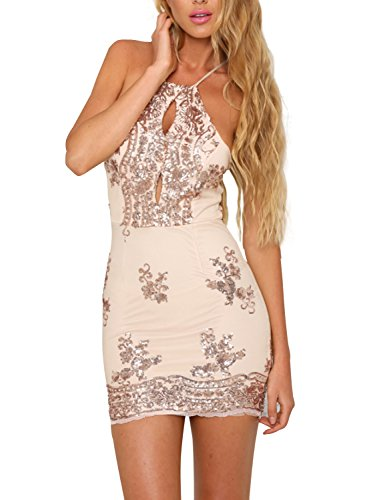 Simplee Women's Sexy Mesh Halter Neck Backless Bodycon Sequin Mini Dress Clubwear Gold