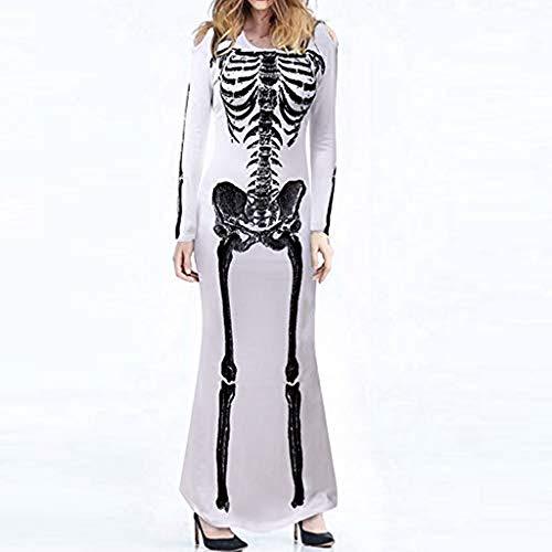Reißverschluss Menschliche Kostüm - bloatboy Frauen Oansatz Menschliches Skelett Print Langarm Kleid - Halloween Festival Cosplay Kostüm