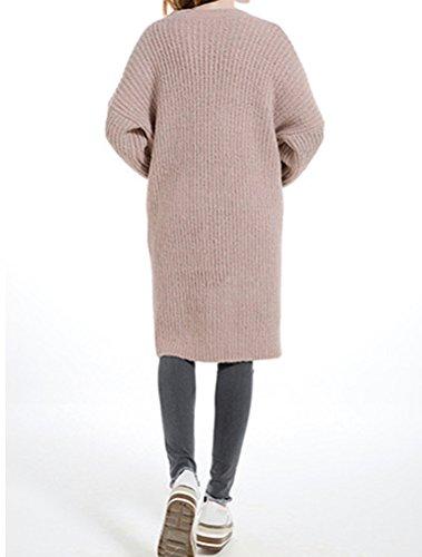 MatchLife Vertical Stripes Robe Pull Surdimensionné Knitting Femme Style1-Beige