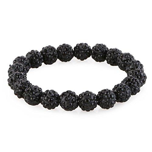 Morella® Damen Armband Perlen mit Zirkoniasteinen elastisch schwarz