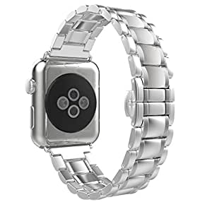 Creazy Stainless Steel Watch Band Strap Metal Clasp for Apple Watch 38mm (Silver)