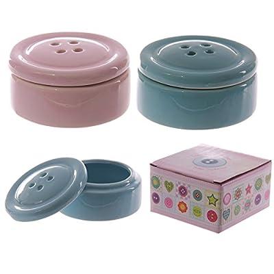 Button Shaped Ceramic Trinket Box