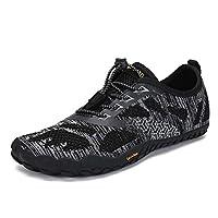 Mens Womens Barefoot Gym Running Walking Trail Beach Hiking Water Shoes Aqua Sports Pool Surf Waterfall Climbing Quick Dry Black 8 M US Women / 6.5 M US Men