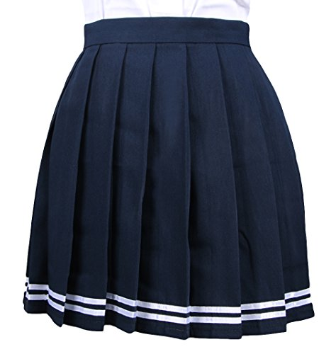 La vogue Mädchen Damen A-Linie Schule Uniform Rock Minirock Blau1 Maße2(M) Kinder-sailor Girl
