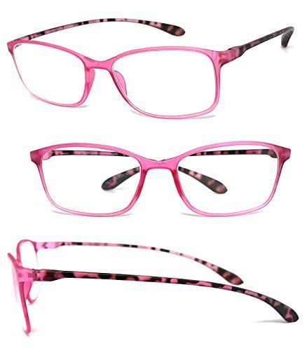 VeryHobby Rechteckig Voll freie Objektiv-Lesebrille Bunte Thin Frame (.00) 3 1 Paar - Pink - 3 Paar Lesebrille