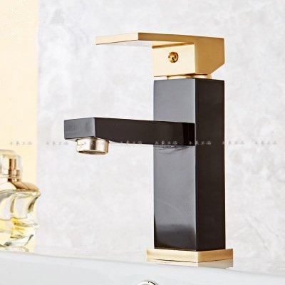 Gyps Faucet Waschtisch-Einhebelmischer Waschtischarmatur BadarmaturSchwarzes Gold heiss & Kalt Wasserhahn Waschtisch Armatur Waschbecken Waschbecken Wasserhahn Raum Aluminium Gold Schwarz B,Mischba