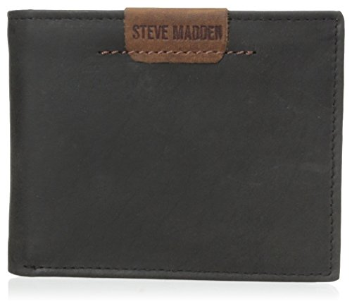 Steve Madden Mens Dakota Stitch Passcase Black