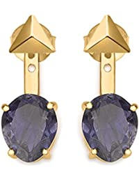 Missoma Gold Plated Drop Iolite Jacket Earrings with Gold Plated Amethyst Studs