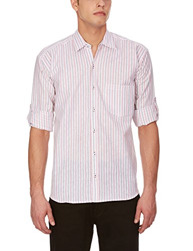 Blue Fire Men's Striped Full Sleeve Slim Fit Poly Cotton Casual Shirt (BF10030240)  available at amazon for Rs.349