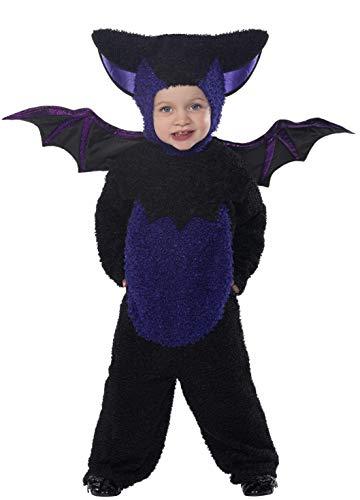 ex Fledermaus Kostüm, Jumpsuit mit Kapuze und Flügeln, Größe: T2 (Kleinkind Medium), 32935 ()