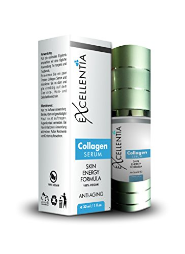 Excellentia Collagen Serum für Gesicht Hals Dekolleté I Anti Aging Serum Gesicht mit Matrixyl - Skin Energy Formula I Beauty Gesichtsserum Hautpflege Gesichtspflege I 30 ml Anti-Falten-Serum vegan