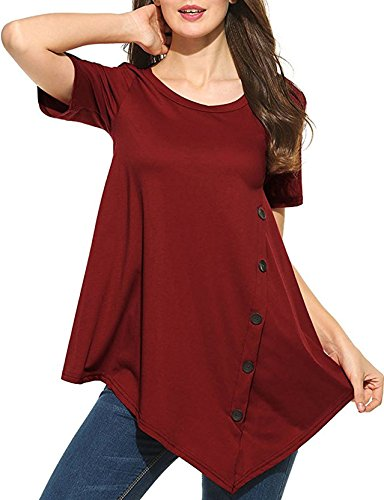 Damen Sommer Kurzarm Weste Einfarbig T-shirt Spleißen Tops Rundhals Blouse Rückenfrei Oberteile Rot