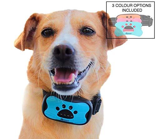 Collar antiladridos para Perro iQpaws - S/M/L - 7 Niveles de Sonido/pitido y vibración - Sin Descarga - Baterías de Larga duración - Incluye Colgante LED para Collares y Ebook