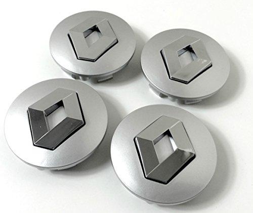 Lot de 4 Renault Centre roues en alliage Hub de 57 mm Gris Chrome de badge de roue