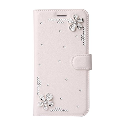 iPhone 6 Plus/6S Plus Lederhülle Brieftasche Handy Hülle Case,Mo-Beauty® Glitter Strass Bling Ledertasche Muster Weich Flip Case Lederhülle Handyhülle im Bookstyle,Retro Elegant Flip Wallet Cover [Lan Blume #1