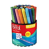 Berol Felt Tip Colouring Pens, Broad Point (1.2mm), Washable, Assorted Colours, Tub of 42