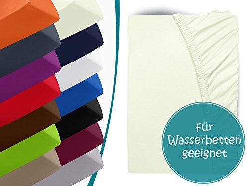 Premium Wasserbett-Spannbetttuch - aus sanforisiertem Baumwoll-Jersey mit 5% Lycra-Anteil - Komfortgröße 180 x 200 cm bis 200 x 220 cm - in 14 attraktiven Farben - auch für Boxspringbetten, natur (Aus Perlen Baumwoll-jersey)