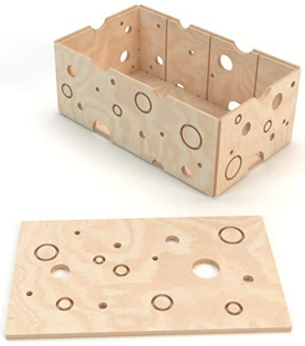 Plygear Holzkiste mit Deckel Q Box - Aufbewahrungsbox Kinder - Kiste Holz für Kinder - 50x30x21 cm -
