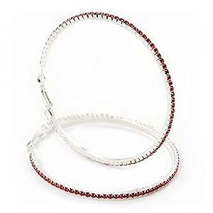 Immenses boucles d'oreilles cercles cristal Swarovski rouge en plaqué rhodium