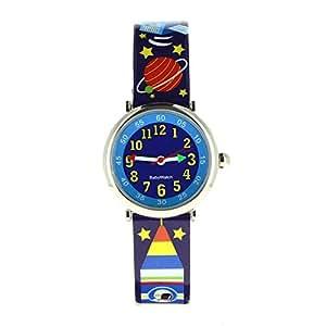Baby Watch - 606108 - Espace - Montre Garçon - Quartz Pédagogique - Cadran Bleu - Bracelet Plastique Multicolore