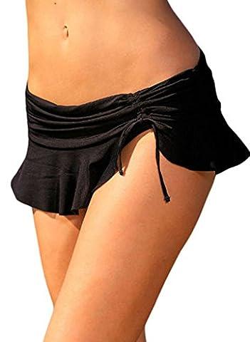 Annflat Women's Summer Side Tie Skirted Hipster Bikini Bottom XX-Large Black