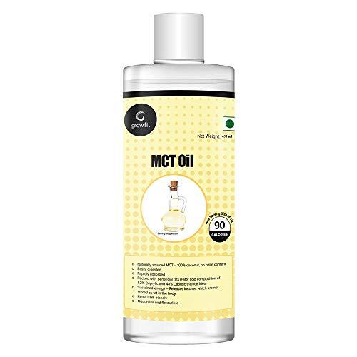 Grow Fit Pure MCT Oil (450Gram) | Premium Grade | Best Keto MCT Oil | Unsweetened - No Palm Oil | FSSAI Certified