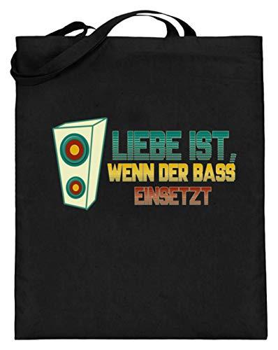 ass Einsetzt! Musik Party Disko Laut MP3 CD Kasette - Jutebeutel (mit langen Henkeln) -38cm-42cm-Schwarz ()