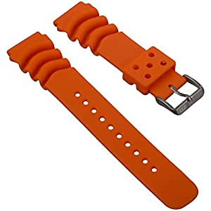 Dive Watch Strap by ZULUDIVER, for Seiko Z22, Orange, 22mm