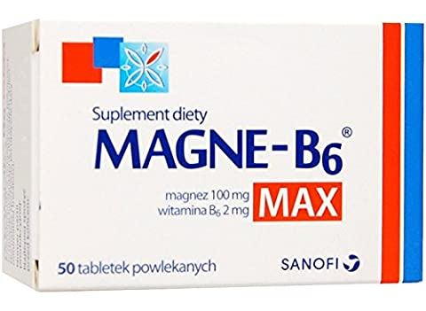 MAGNE B6 MAX - 50 capsules - is a dietary supplement containing in its composition magnesium and vitamin B6, for people suffering weakness, fatigue, twitching eyelids and muscle