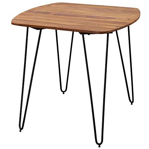 FineBuy Esszimmertisch FB13345 80 x 76 x 80 cm Sheesham Massivholz | Esstisch mit Metallbeinen | Massiver Echtholz Tisch quadratisch | Designer Massivholz massiv | Moderner Küchentisch braun