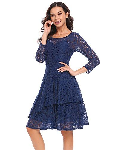 Meaneor Damen Kleid Falten A linie Doppel Ruffles Knielang Spitzenkleid Abbildung 3
